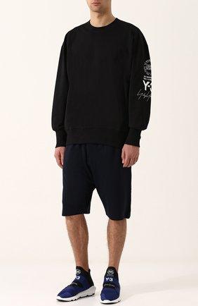 Хлопковые шорты свободного кроя с Y-3 темно-синие | Фото №1