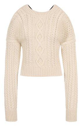 Пуловер фактурной вязки с открытыми плечами и спиной | Фото №1