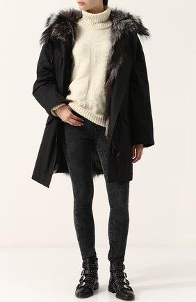 Женские джинсы-скинни с потертостями PAIGE серого цвета, арт. 2098C78-5560   Фото 2