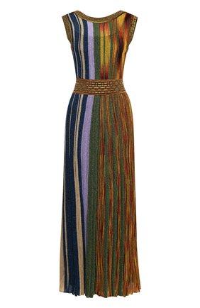 Приталенное вязаное платье-миди без рукавов Missoni разноцветное | Фото №1