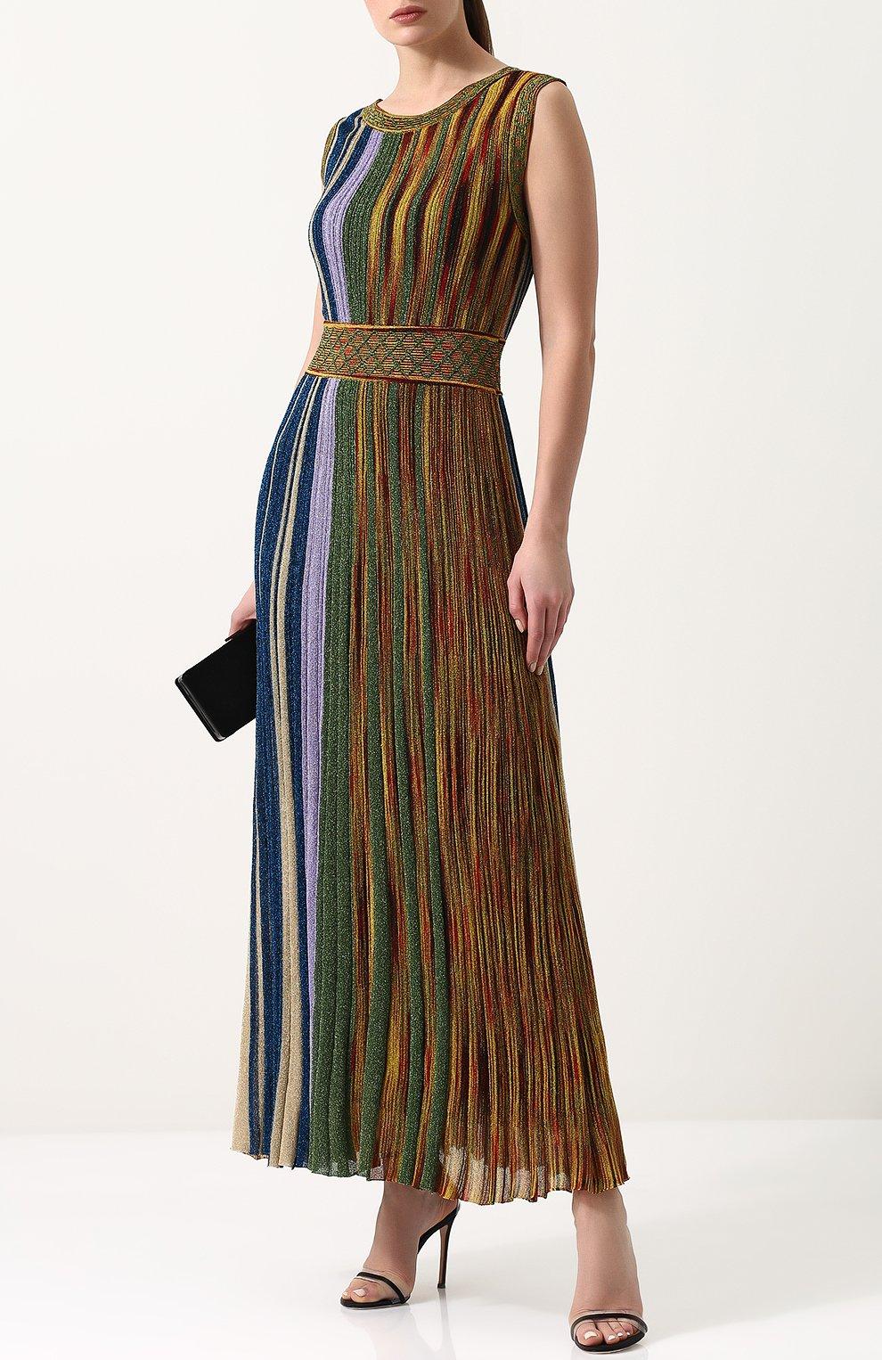 Приталенное вязаное платье-миди без рукавов Missoni разноцветное | Фото №2