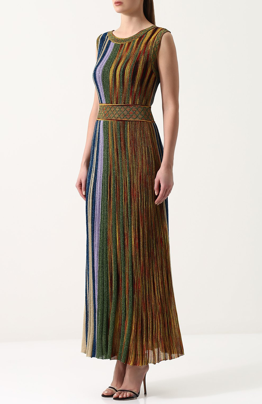 Приталенное вязаное платье-миди без рукавов Missoni разноцветное | Фото №3