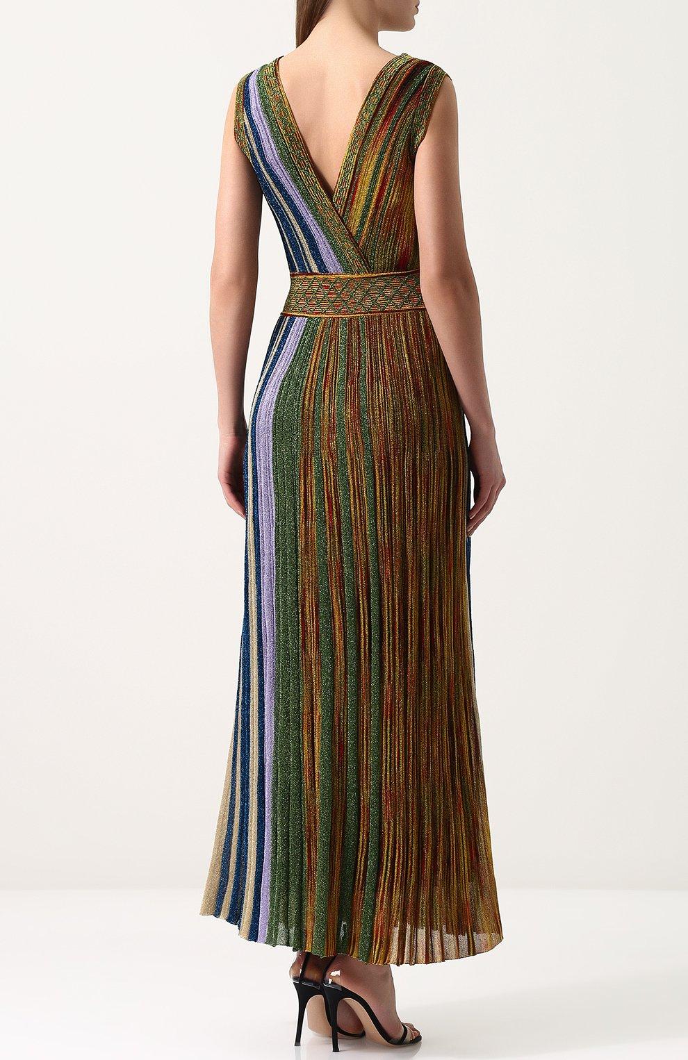 Приталенное вязаное платье-миди без рукавов Missoni разноцветное | Фото №4