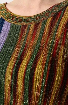 Приталенное вязаное платье-миди без рукавов Missoni разноцветное | Фото №5
