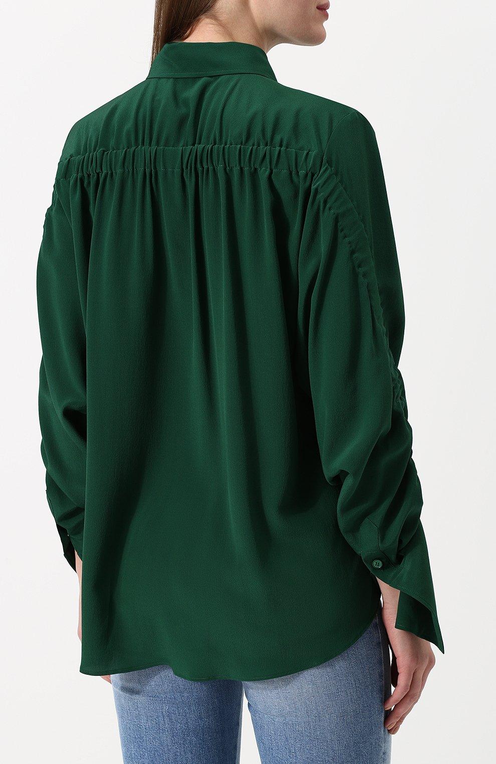 65d228c2e49 Женская зеленая однотонная шелковая блуза с драпировкой STELLA ...