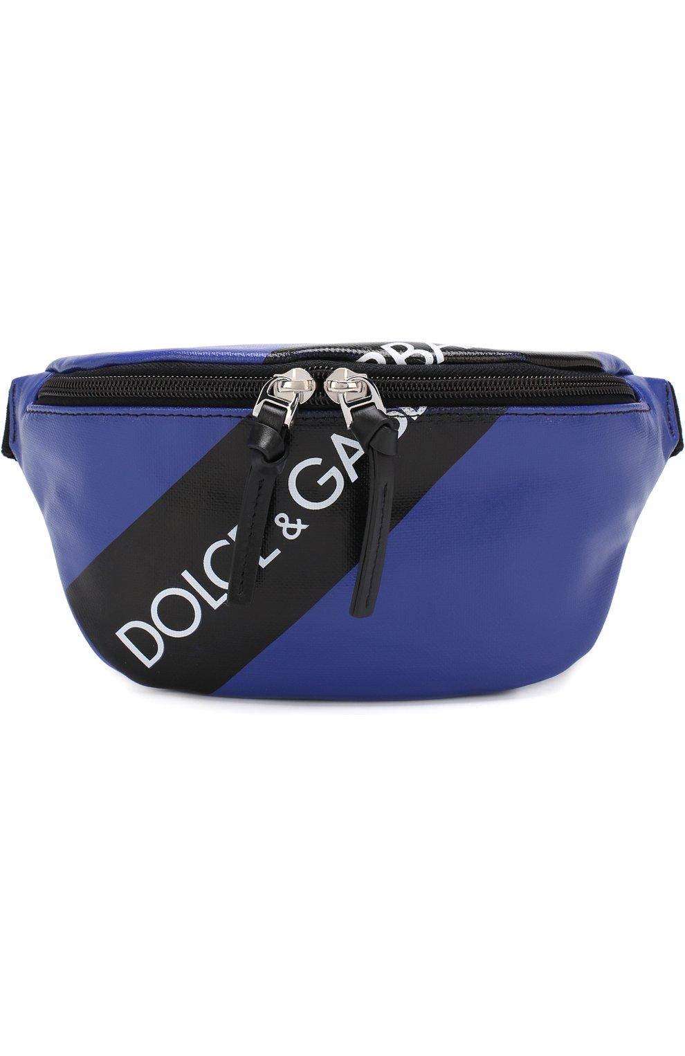 bc54b99e323d Поясная сумка с логотипом бренда Dolce & Gabbana синего цвета   Фото №1