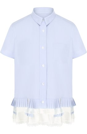 Блуза свободного кроя с коротким рукавом и оборками | Фото №1