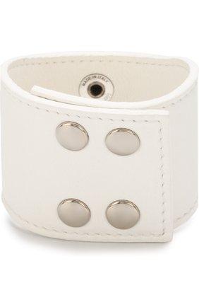 Кожаный браслет с отделкой из камней GFase белый | Фото №1