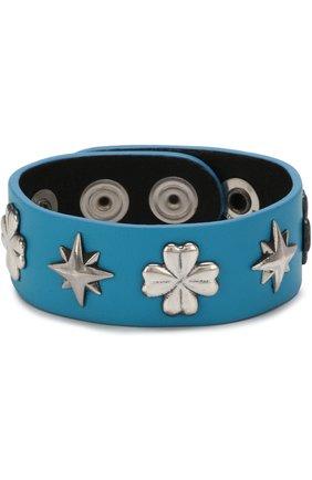 Кожаный браслет с серебряной отделкой GFase голубой | Фото №1