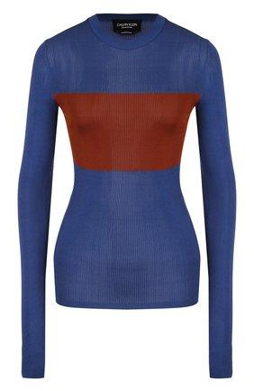Приталенный шелковый пуловер с круглым вырезом | Фото №1