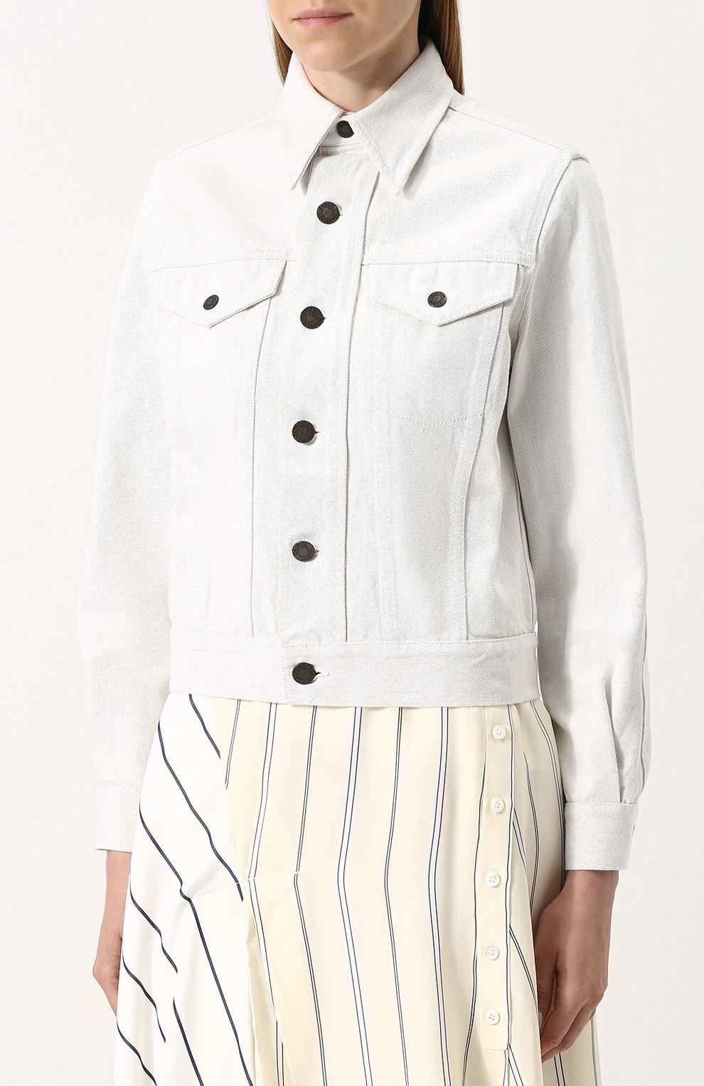 cd2b043c6ff Женская белая однотонная джинсовая куртка CALVIN KLEIN 205W39NYC ...