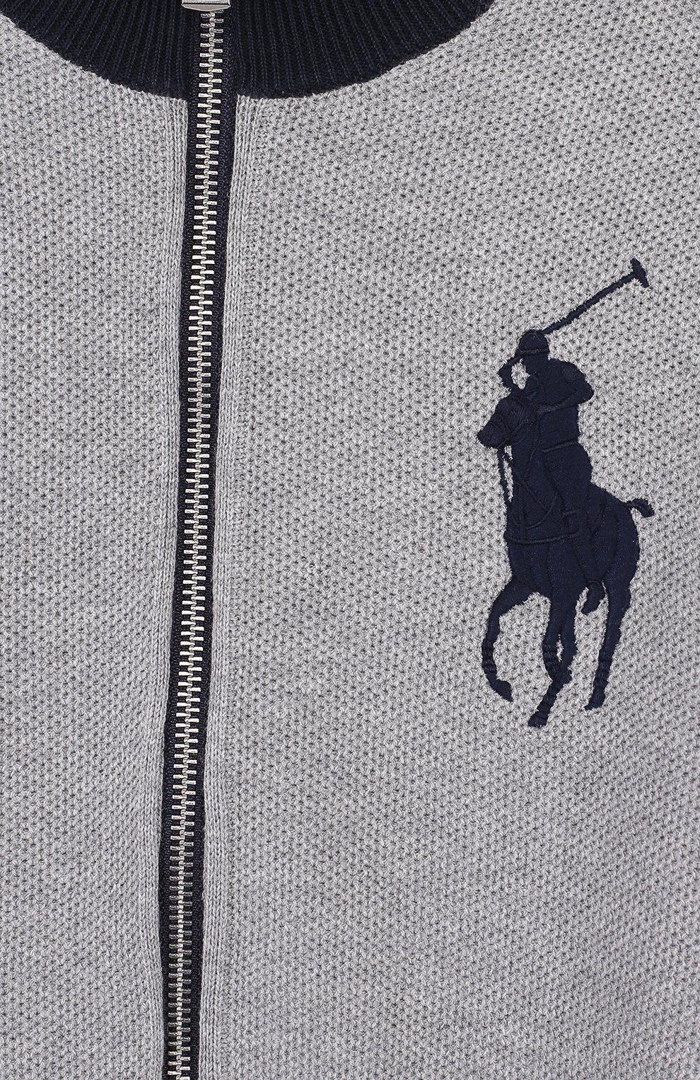 Хлопковый кардиган на молнии с воротником-стойкой | Фото №3