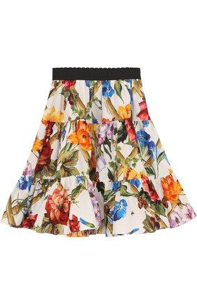 Хлопковая юбка свободного кроя с принтом и эластичным поясом | Фото №1