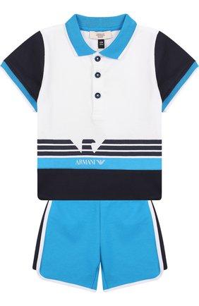Хлопковый комплект из футболки и шорт   Фото №1