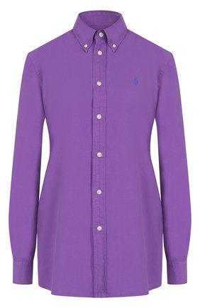 Однотонная хлопковая блуза прямого кроя | Фото №1