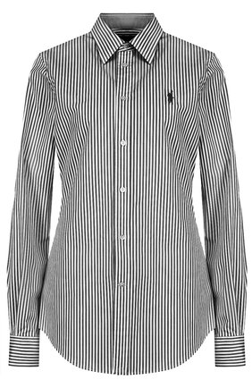 Женская хлопковая рубашка POLO RALPH LAUREN черно-белого цвета, арт. 211684070 | Фото 1 (Рукава: Длинные; Материал внешний: Хлопок; Длина (для топов): Стандартные; Женское Кросс-КТ: Рубашка-одежда; Принт: Полоска, С принтом)