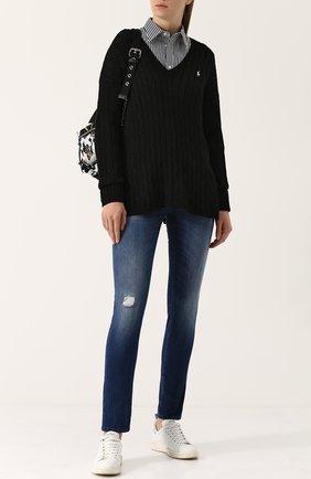 Женская хлопковая рубашка POLO RALPH LAUREN черно-белого цвета, арт. 211684070 | Фото 2 (Рукава: Длинные; Материал внешний: Хлопок; Длина (для топов): Стандартные; Женское Кросс-КТ: Рубашка-одежда; Принт: Полоска, С принтом)