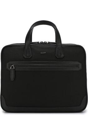 Текстильная сумка для ноутбука с плечевым ремнем Bally черная | Фото №1