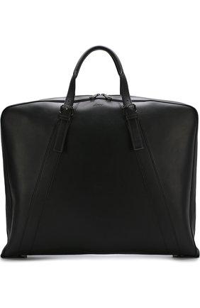 Мужская кожаный кофр на молнии BRIONI черного цвета, арт. 0ISJ0L/P6751 | Фото 1