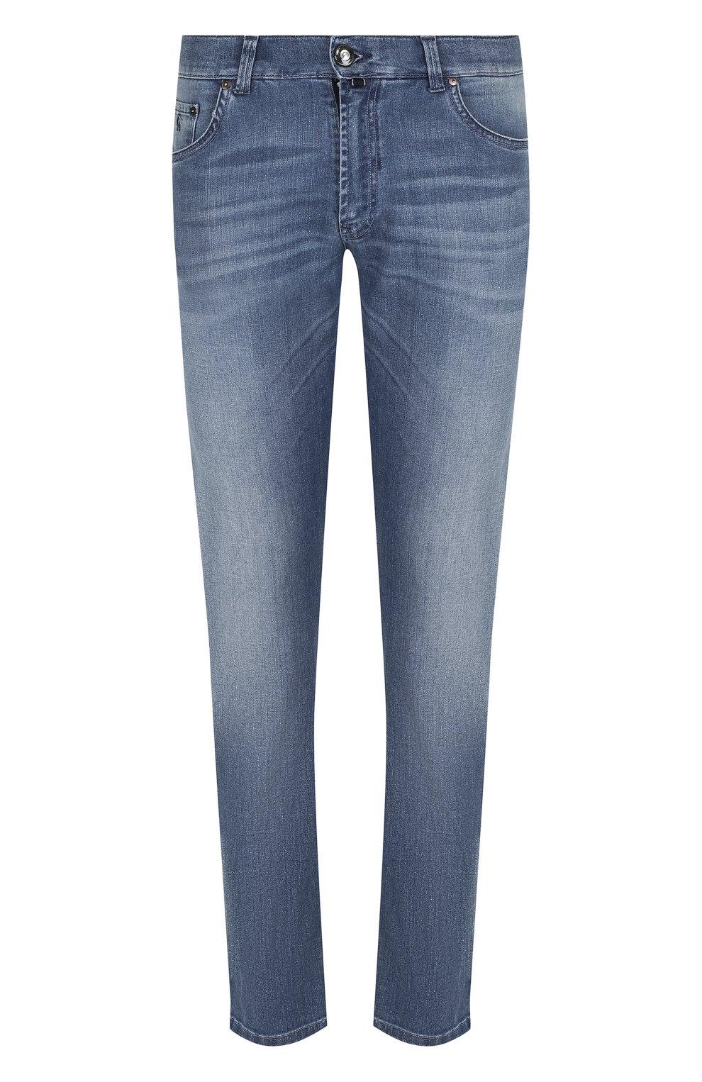 Мужские джинсы прямого кроя с потертостями ANDREA CAMPAGNA синего цвета, арт. ACCR253333 | Фото 1