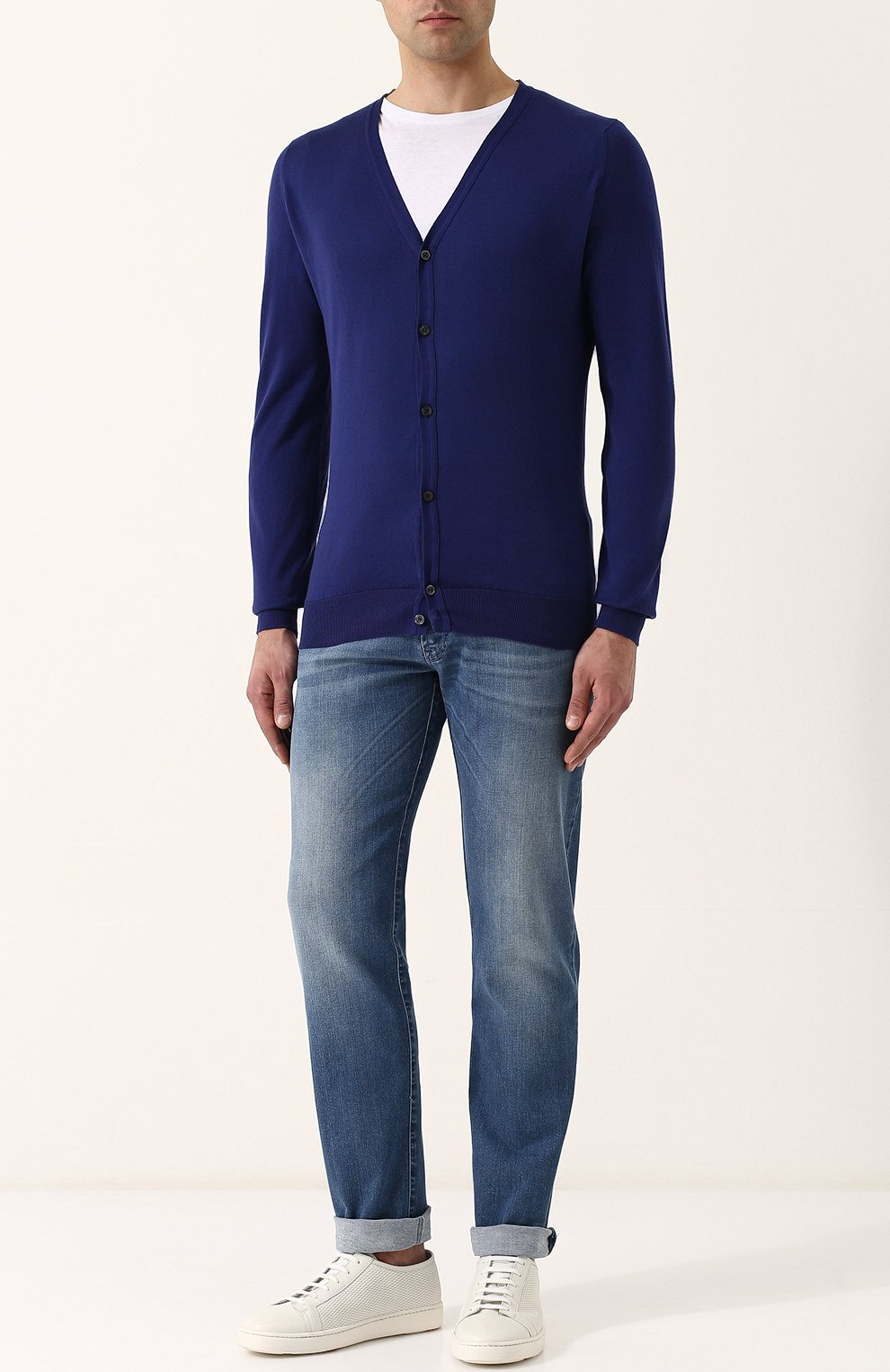 Мужские джинсы прямого кроя с потертостями ANDREA CAMPAGNA синего цвета, арт. ACCR253333 | Фото 2