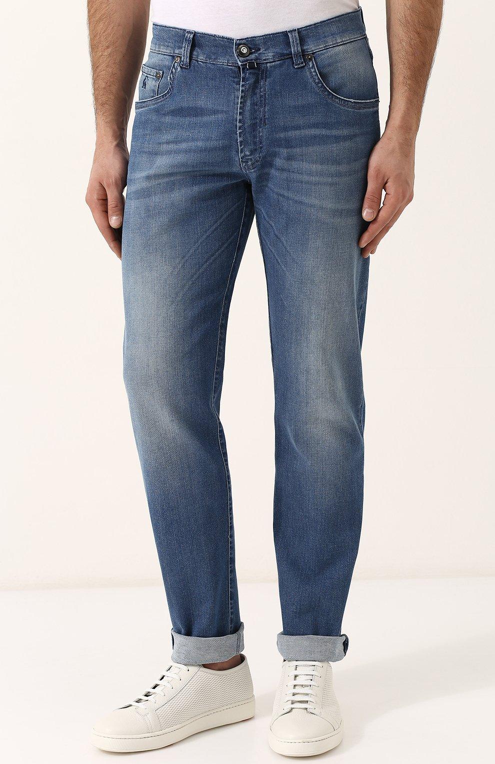 Мужские джинсы прямого кроя с потертостями ANDREA CAMPAGNA синего цвета, арт. ACCR253333 | Фото 3