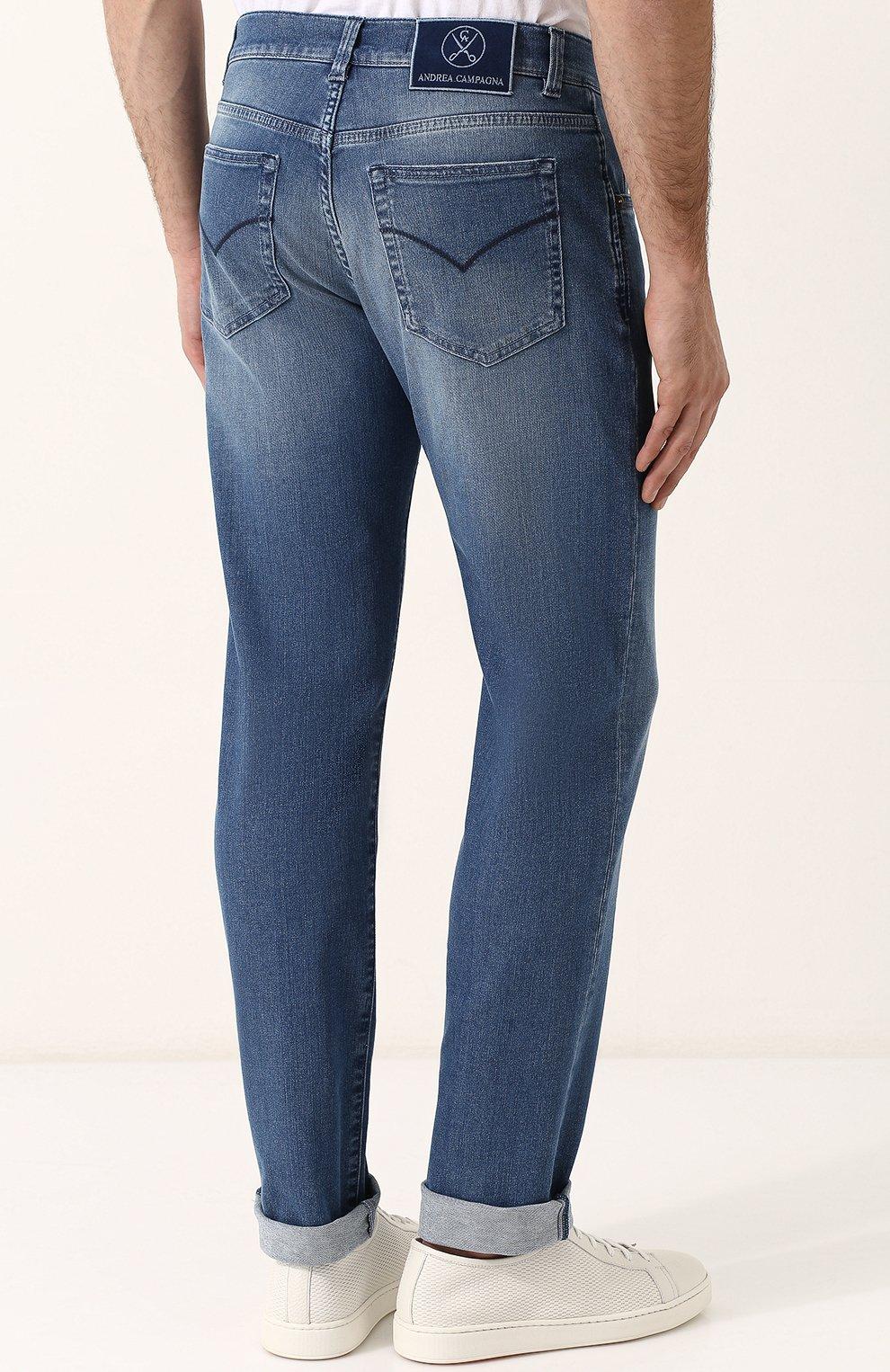 Мужские джинсы прямого кроя с потертостями ANDREA CAMPAGNA синего цвета, арт. ACCR253333 | Фото 4