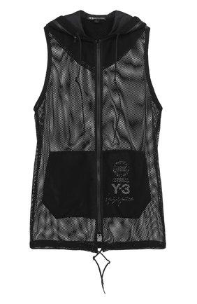 Удлиненный прозрачный жилет на молнии с капюшоном Y-3 черный | Фото №1