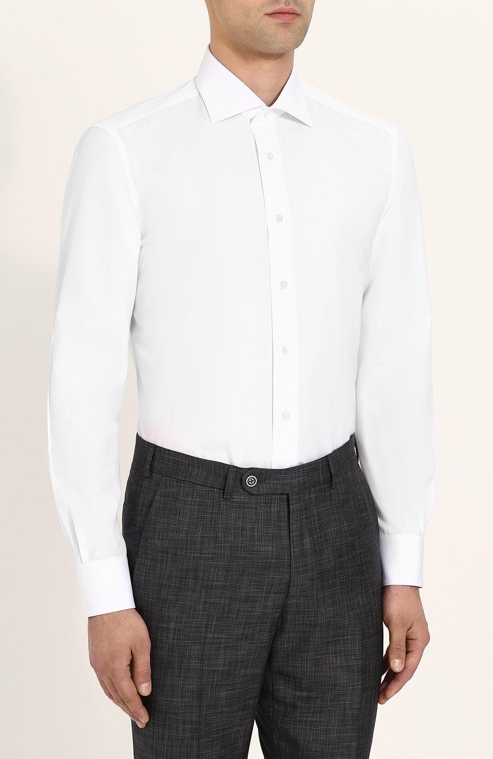 Мужская хлопковая сорочка с воротником акула ZILLI белого цвета, арт. MFP-00101-01703/0002 | Фото 3