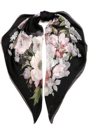 Шелковый платок с цветочным принтом Emilio Conte розовый   Фото №1