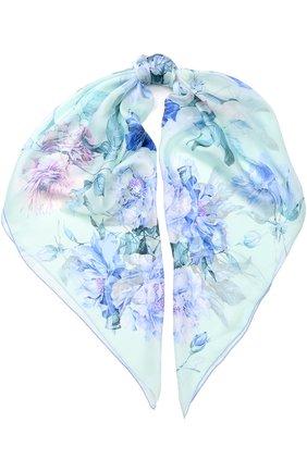 Шелковый платок с цветочным принтом Emilio Conte голубой   Фото №1