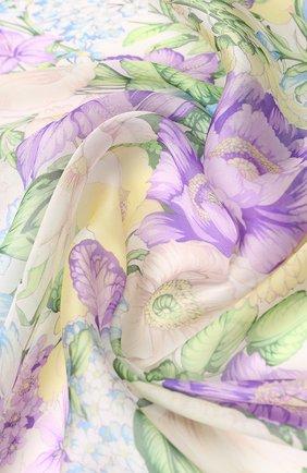 Шелковый платок с цветочным принтом Emilio Conte синий   Фото №1