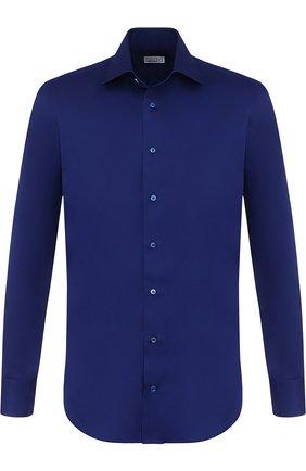 Мужская хлопковая сорочка с воротником кент ZILLI темно-синего цвета, арт. MFP-01003-10715/0002 | Фото 1