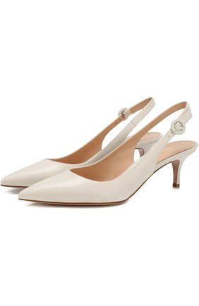 Кожаные туфли Anna на каблуке kitten heel | Фото №1