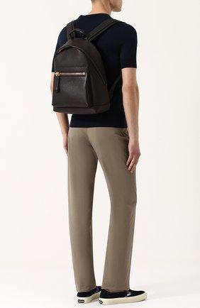 Мужской кожаный рюкзак с внешним карманом на молнии TOM FORD темно-коричневого цвета, арт. 118H0357T-CG8 | Фото 2