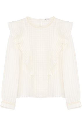 Блуза из смеси хлопка и шелка с оборками | Фото №1