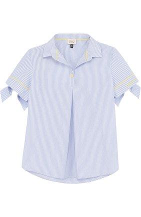 Блуза из хлопка и полиэстера с бантами   Фото №1