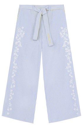 Расклешенные брюки с вышивкой и поясом   Фото №1