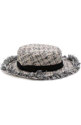 Шляпа из твида с лентой Eugenia Kim кремвого цвета | Фото №1