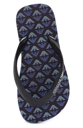 Детские шлепанцы с логотипом бренда EMPORIO ARMANI темно-синего цвета, арт. 405517/CC100 | Фото 4
