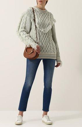 Кашемировый пуловер фактурной вязки с бахромой Alanui бежевый   Фото №1
