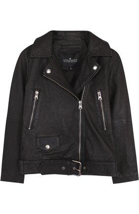 Кожаная куртка с косой молнией | Фото №1