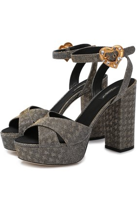 Босоножки Keira из металлизированного текстиля на устойчивом каблуке | Фото №1