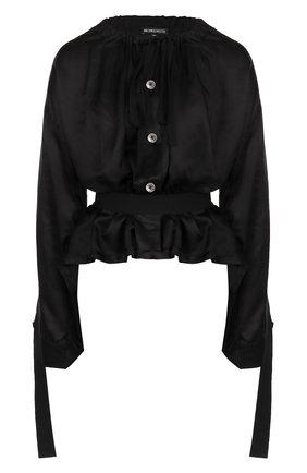 Женская блуза из смеси вискозы и шелка с поясом Ann Demeulemeester, цвет черный, арт. 1801-2000-P-122-099 в ЦУМ | Фото №1