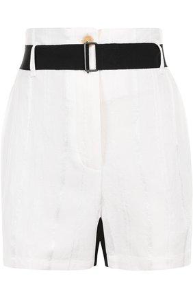 Мини-шорты с карманами и контрастным поясом Ann Demeulemeester белые | Фото №1