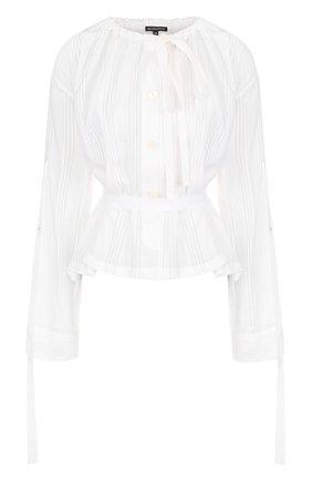 Хлопковая блуза с длинным рукавом и поясом   Фото №1