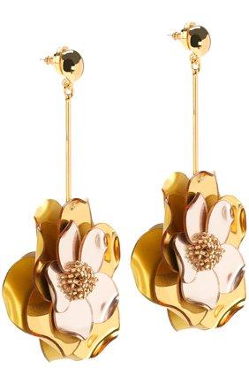 Женские серьги с подвесками в виде цветов и отделкой из бисера OSCAR DE LA RENTA золотого цвета, арт. R18J149G0L | Фото 2