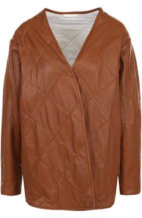 Стеганая кожаная куртка свободного кроя | Фото №1
