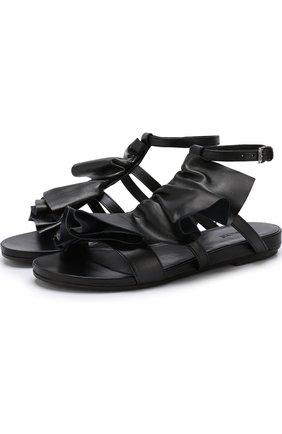 Кожаные сандалии с декоративной отделкой | Фото №1