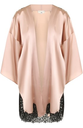 Шелковый халат с контрастными кружевными вставками Fleur du Mal X Kilian розовый   Фото №1